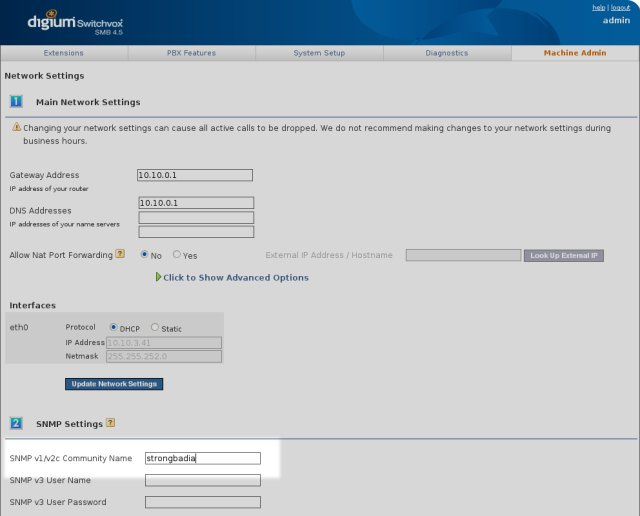 Highlighted: the SNMP community name field