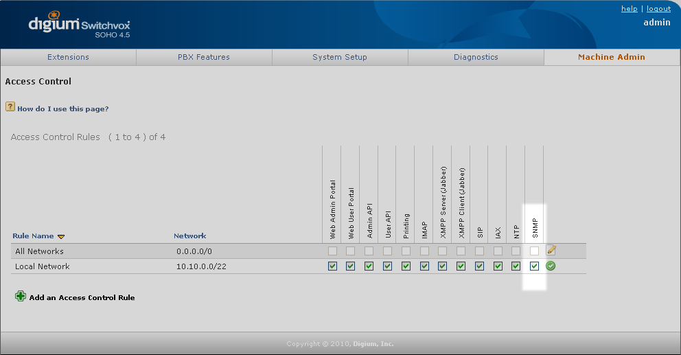 Switchvox's access control page; the SNMP setting is highlighted
