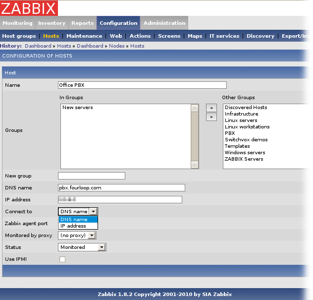 Creating a host entry in Zabbix